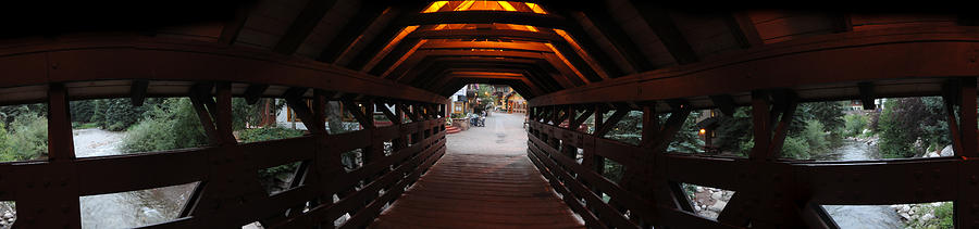 Vail Photograph - Covered Bridge In Vail Colorado Panorama by Jeff Schomay