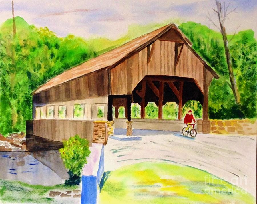Covered Painting - Covered Bridge by Joe Hagarty