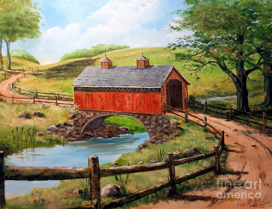covered bridge country farm folk art landscape painting by lee piper