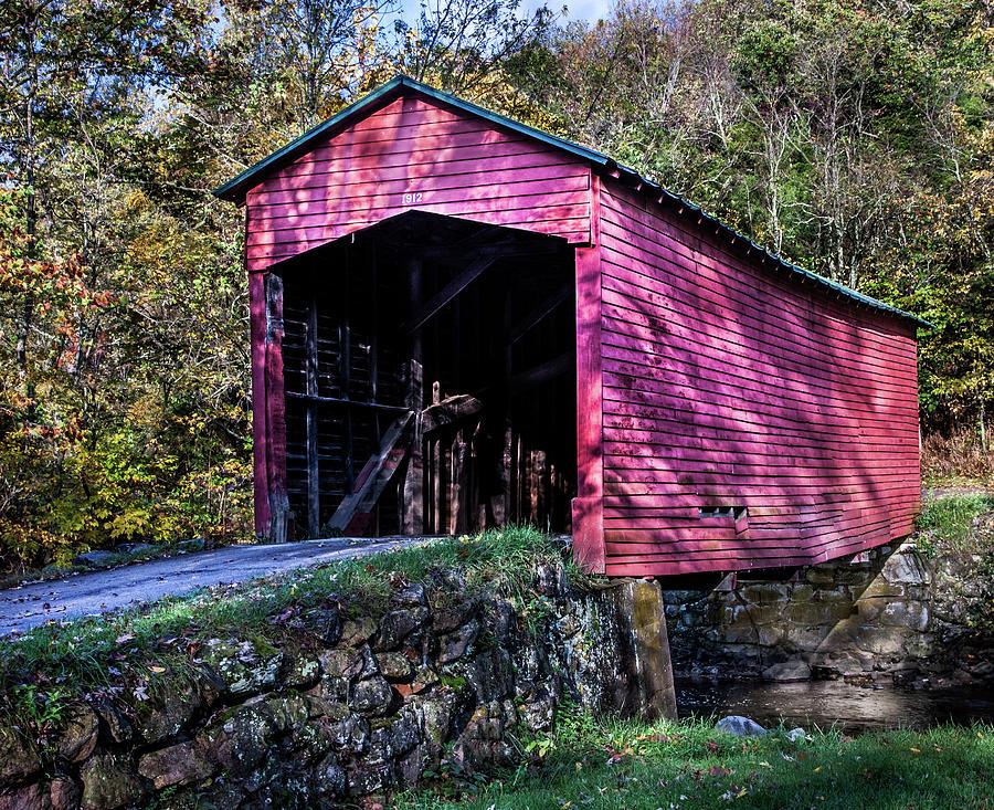 Covered Bridge Near Mountain Lake Photograph