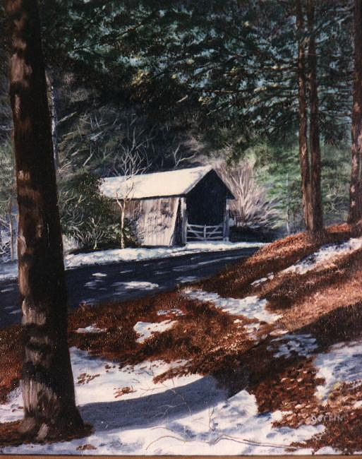 Covered Bridge Painting - Covered Bridge On Drybrook Road by Roger E Gorrin