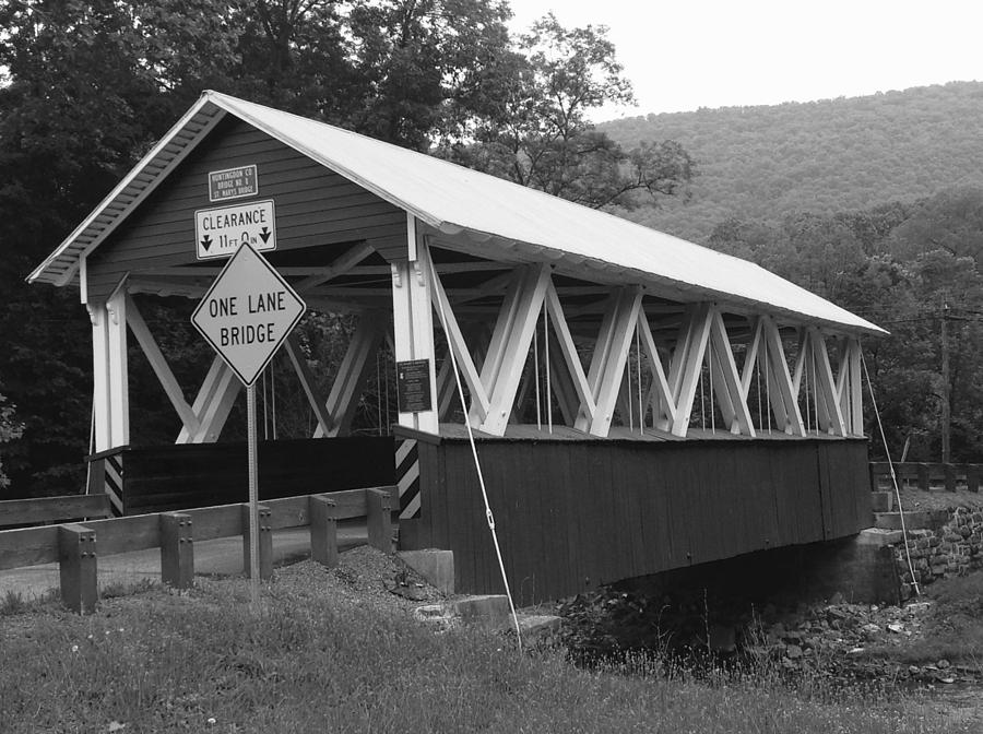 Covered Bridge Pennsylvania Black and White Landscape by Wendy S Beatty