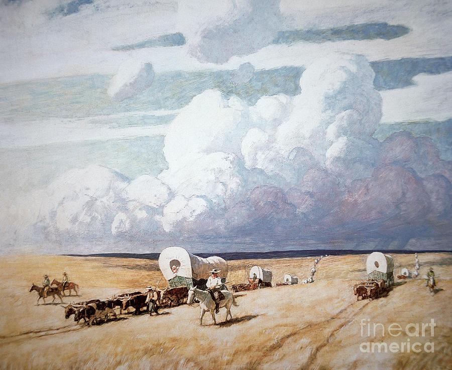 Newell Convers Wyeth Painting - Covered Wagons Heading West by Newell Convers Wyeth