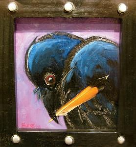 Covetous Crow Painting by Ren Burke