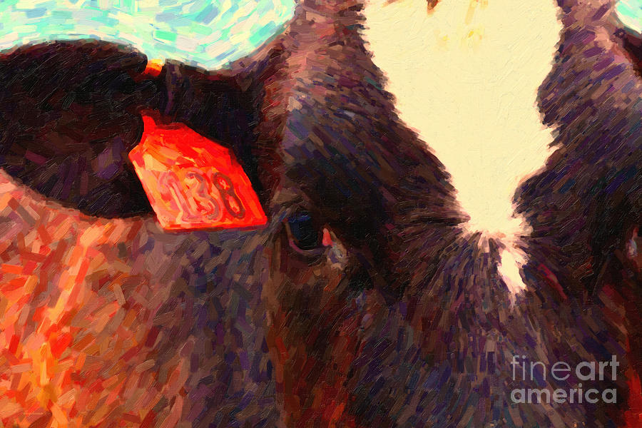 Wildlife Photograph - Cow 138 Reinterpreted by Wingsdomain Art and Photography