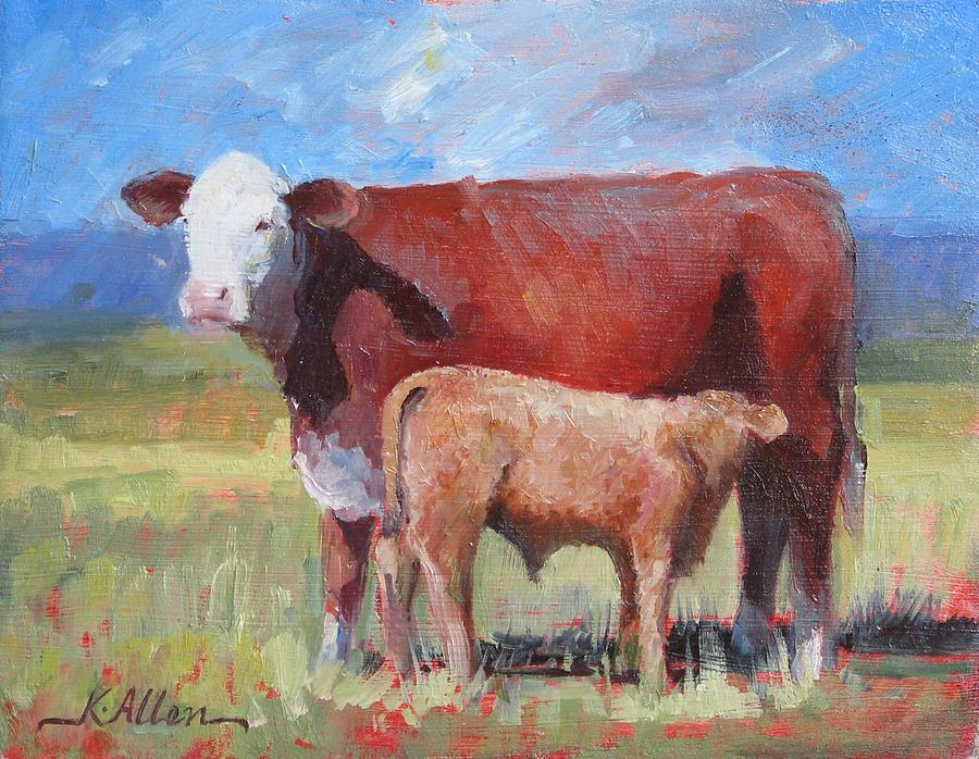 Cow And Calf Painting by Allen