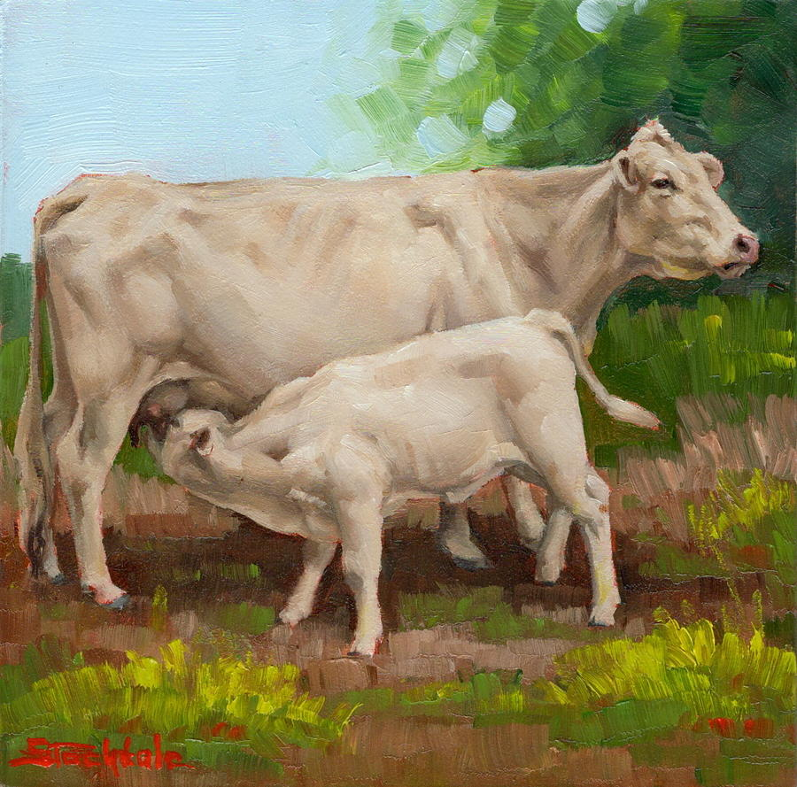 Cow  And Calf In Miniature  by Margaret Stockdale