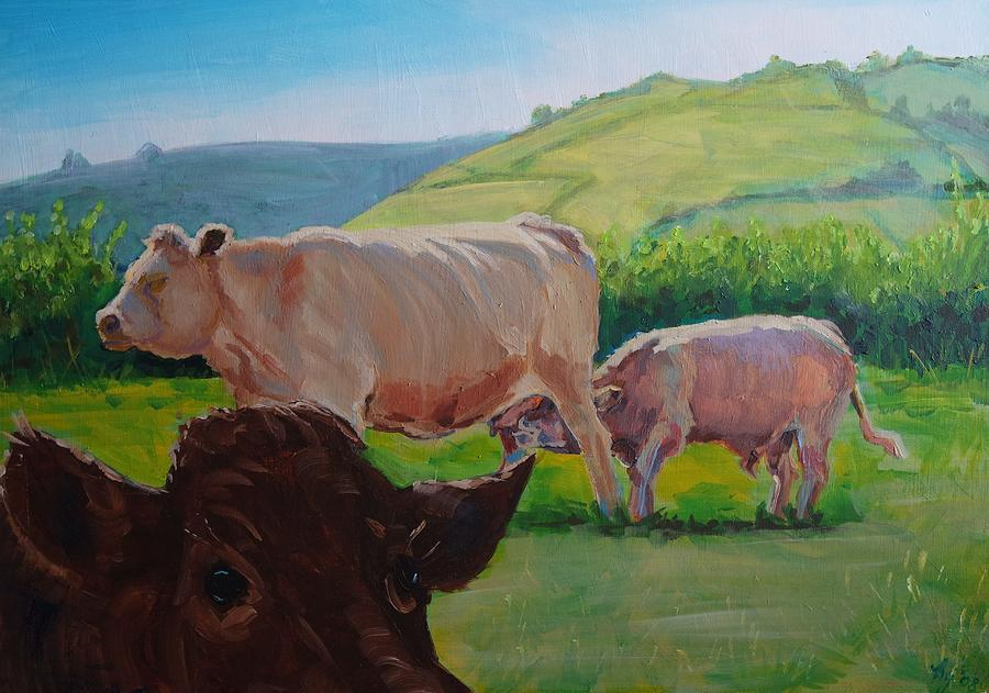 Mike Painting - Cow And Calf Painting by Mike Jory