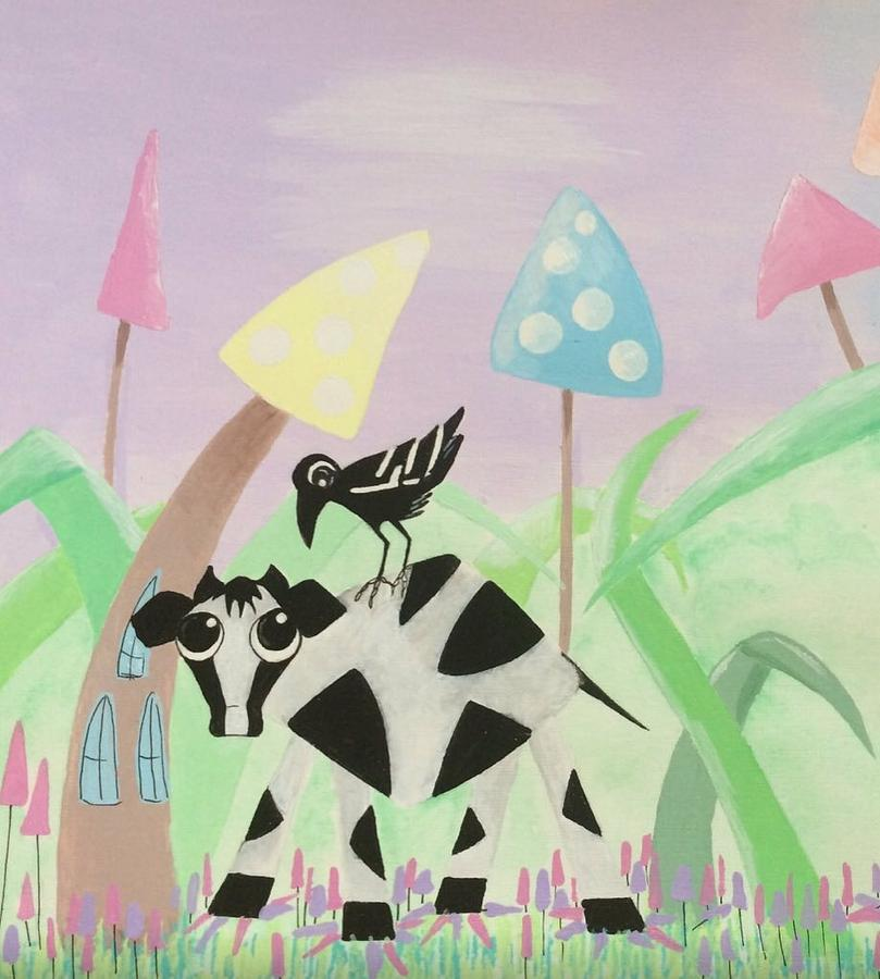 Cow Drawing - Cow And Crow In The Land Of Mushrooms by Briony Dixon