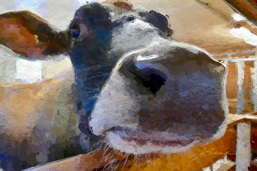 Cow Face Close Up Painting