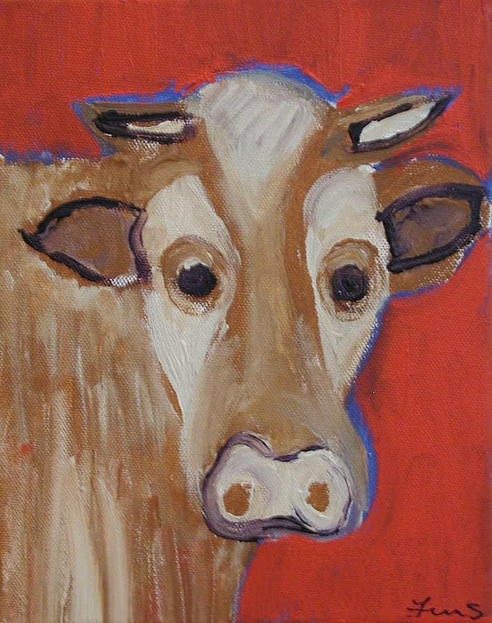 Cow Painting - Cow Face by Fran Steinmark