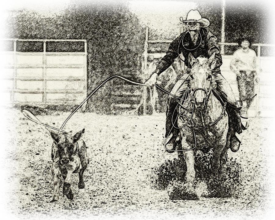 Equestrian Digital Art - Cow Horse by Janice OConnor