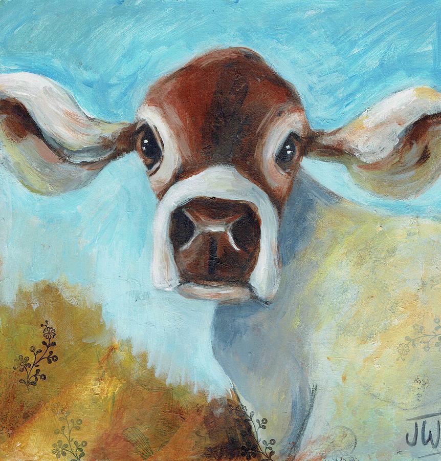 Cow in the meadow by June Walker