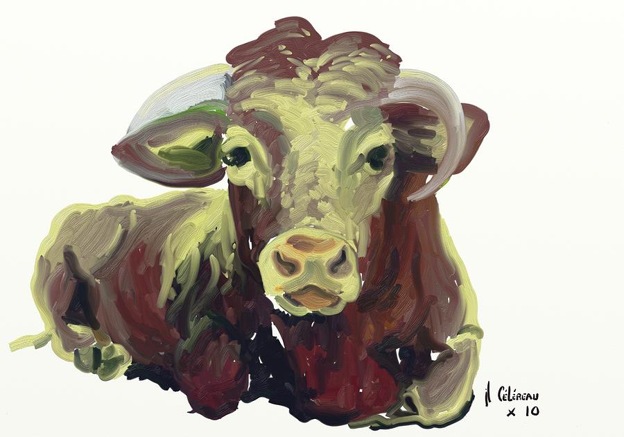 cow Painting by Jean-luc Celereau