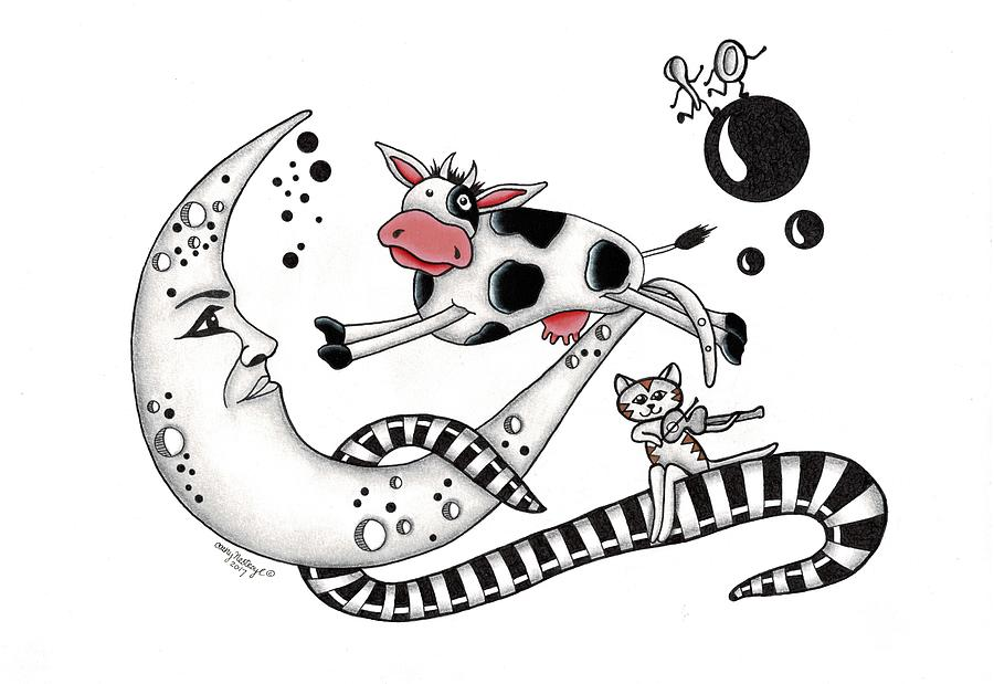 Cow Drawing - Cow Jumps Over The Moon by Cathy Nestroyl