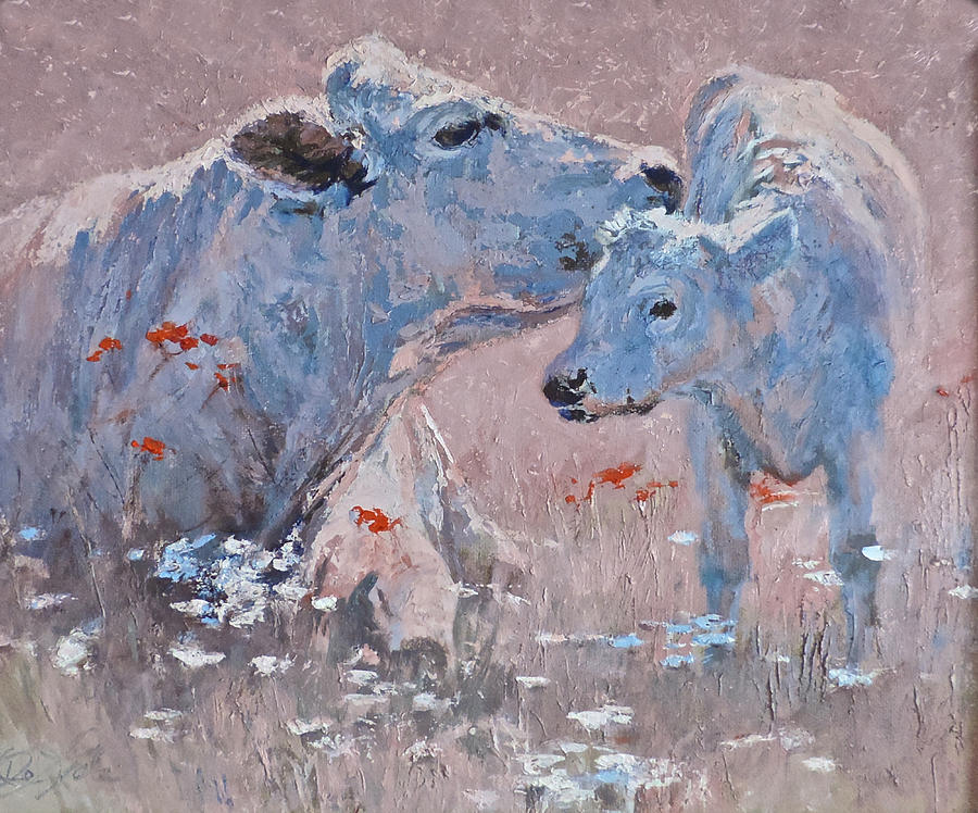 Cows Painting - Cow Lick by Mia DeLode
