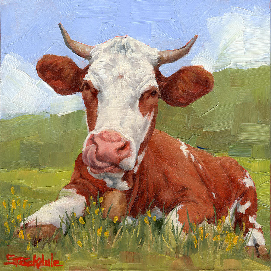 Cow Lick Mini Painting  by Margaret Stockdale