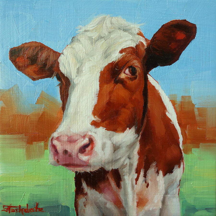 Cow Miniature Painting by Margaret Stockdale