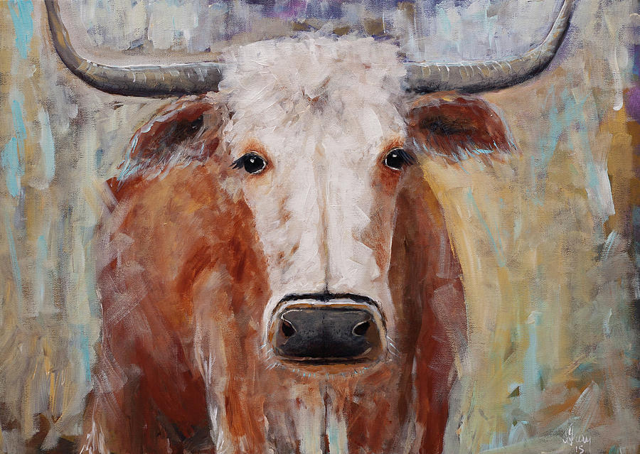 Cow Painting Longhorn Steer Country Farm House Art Painting