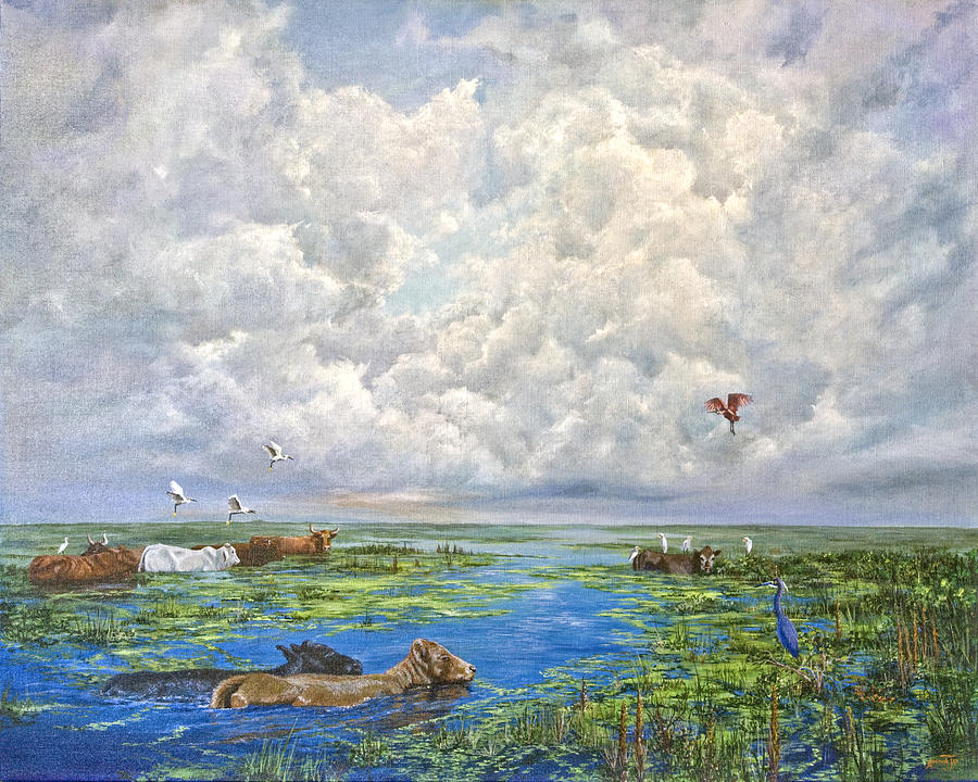 Florida Painting - Cow Party by AnnaJo Vahle