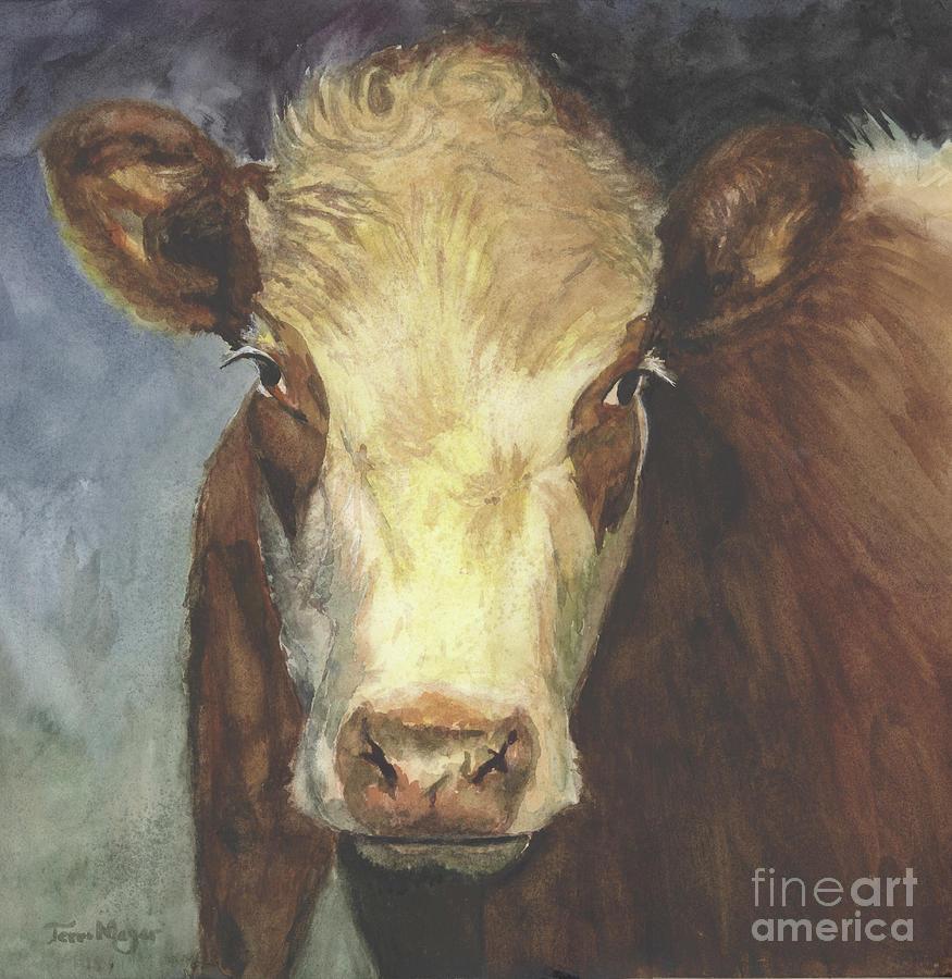 Cow Portrait II Painting by Terri  Meyer