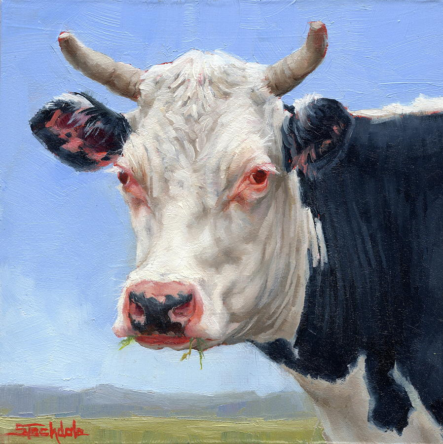 Cow Portrait  Mini Painting by Margaret Stockdale
