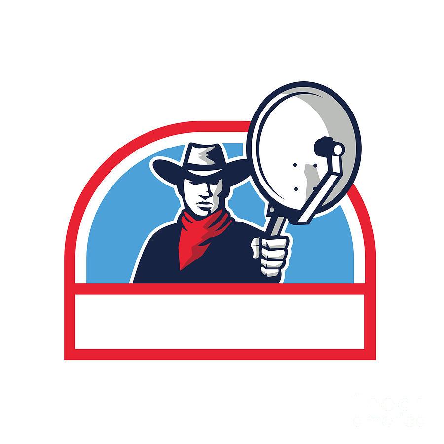 5ef625b642d Cowboy Aiming Satellite Dish Half Circle Retro Digital Art by Aloysius ...