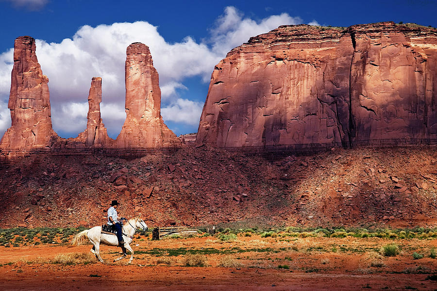 Cowboy Photograph - Cowboy And Three Sisters by William Freebilly photography