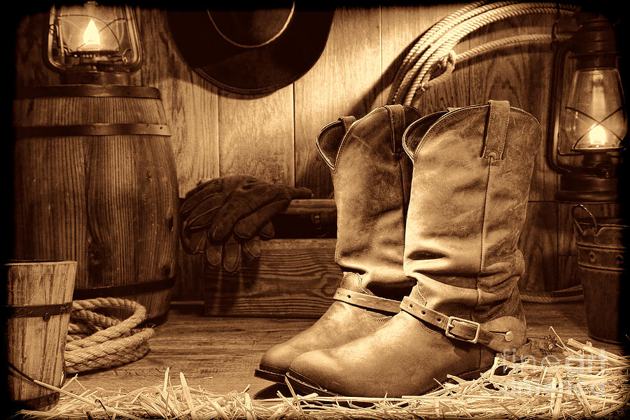 Cowboy Boots in a Ranch Barn by American West Legend By Olivier Le Queinec