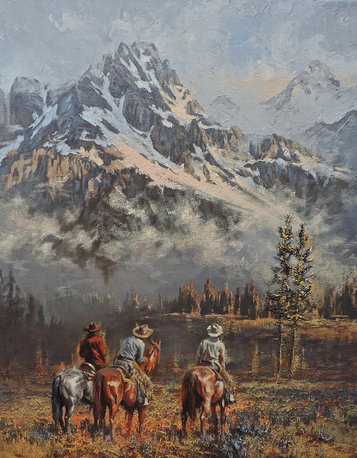 Cowboys Painting - Cowboy Cathedral by Mia DeLode