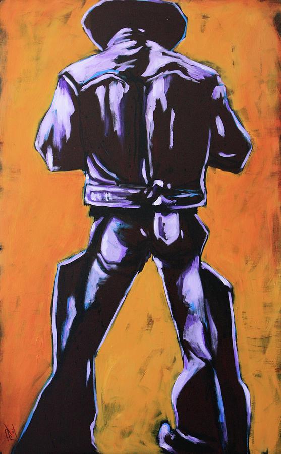 Cowboy Painting - Cowboy Drumroll In Purple by Chris Riley