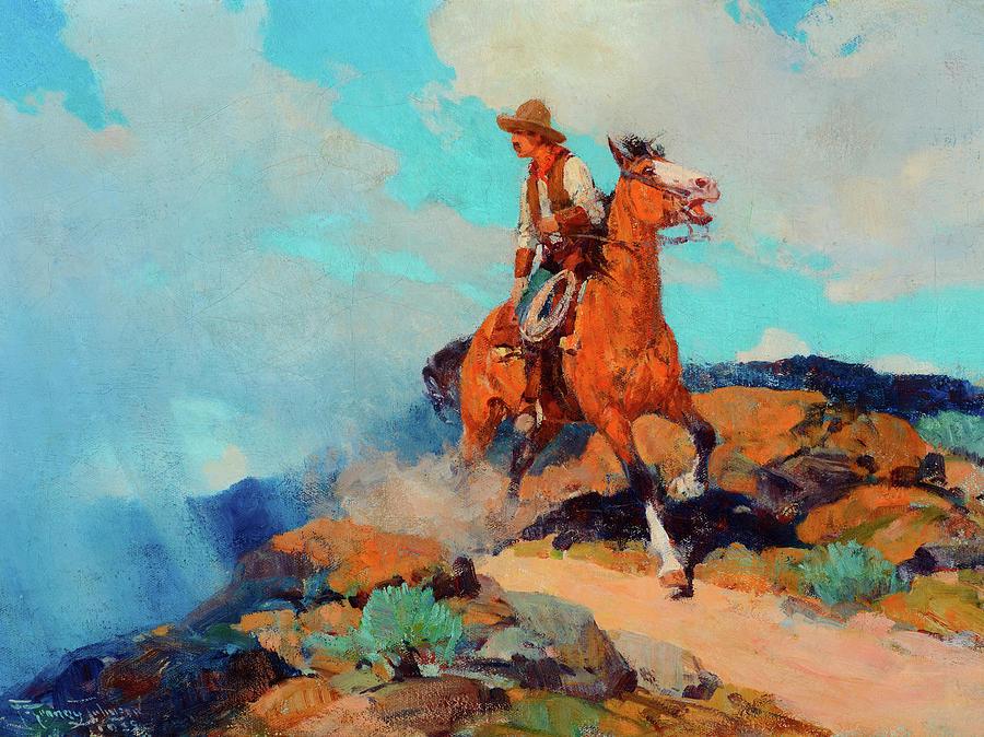 Horse Frank Johnson Hunting TEXAS COWBOYS Western antique decor,ART PRINT