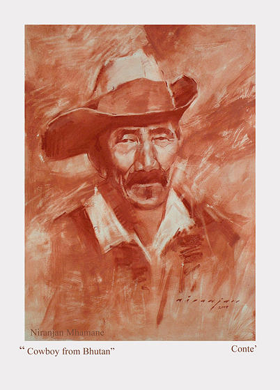 Conte Painting - Cowboy From Bhutan by Niranjan Mhamane