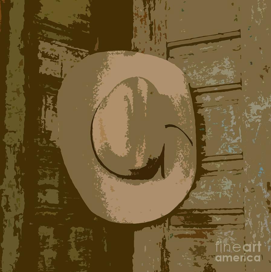 Cowboy Hat Photograph - Cowboy Hangs It Up Square Format 1 by Barbie Corbett-Newmin