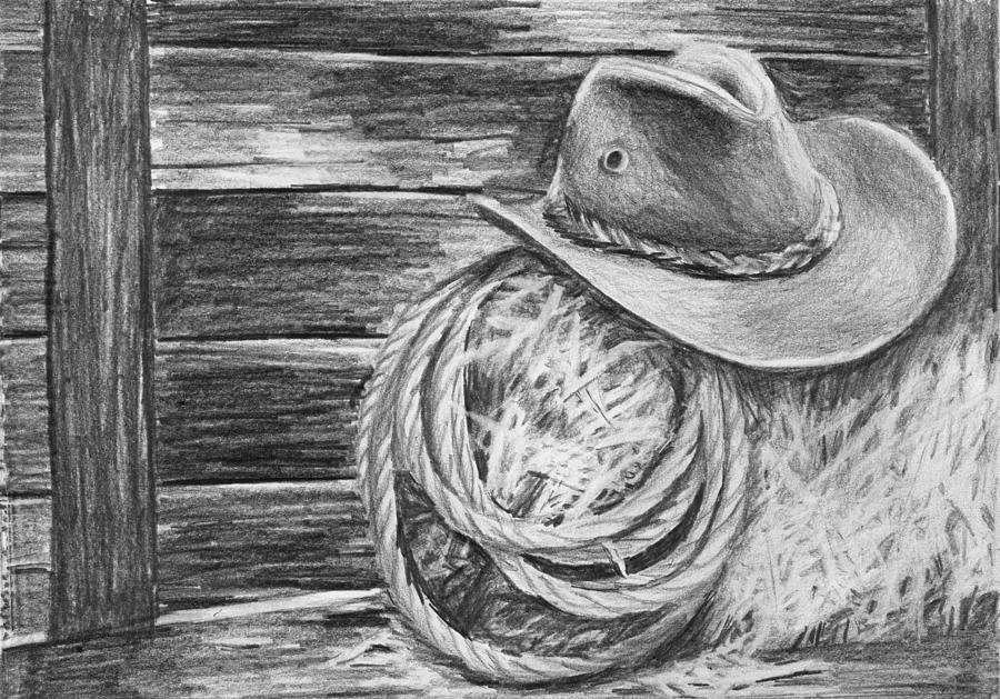 Pencil Drawing - Cowboy Hat In A Barn by Nolan Clark