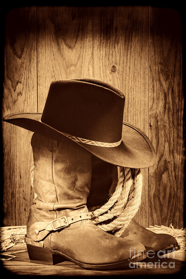 Cowboy Hat on Boots by American West Legend By Olivier Le Queinec