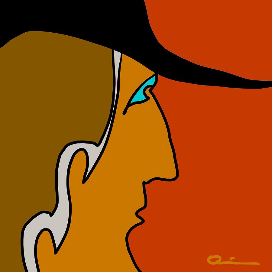 Face Digital Art - Cowboy by Jeff Quiros