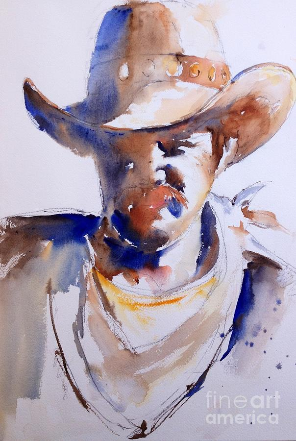 Watercolor Painting - Cowboy by John Byram