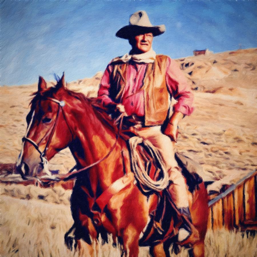 John Wayne Painting - Cowboy John Wayne by Vincent Monozlay