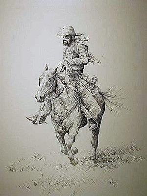 Cowboy Drawing - Cowboy by Kevin Heaney