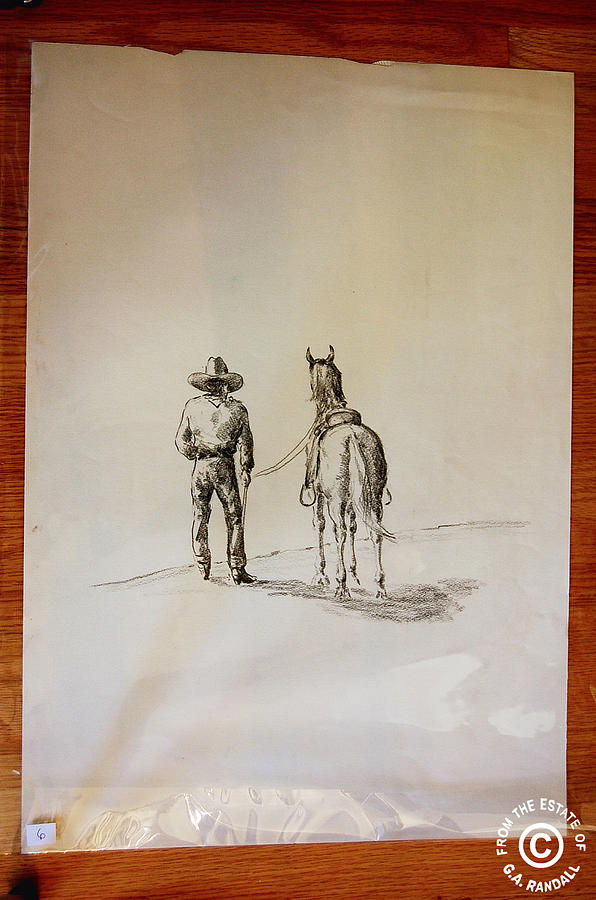 Cowboy Drawing - Cowboy Leading A Horse by Smart Healthy Life
