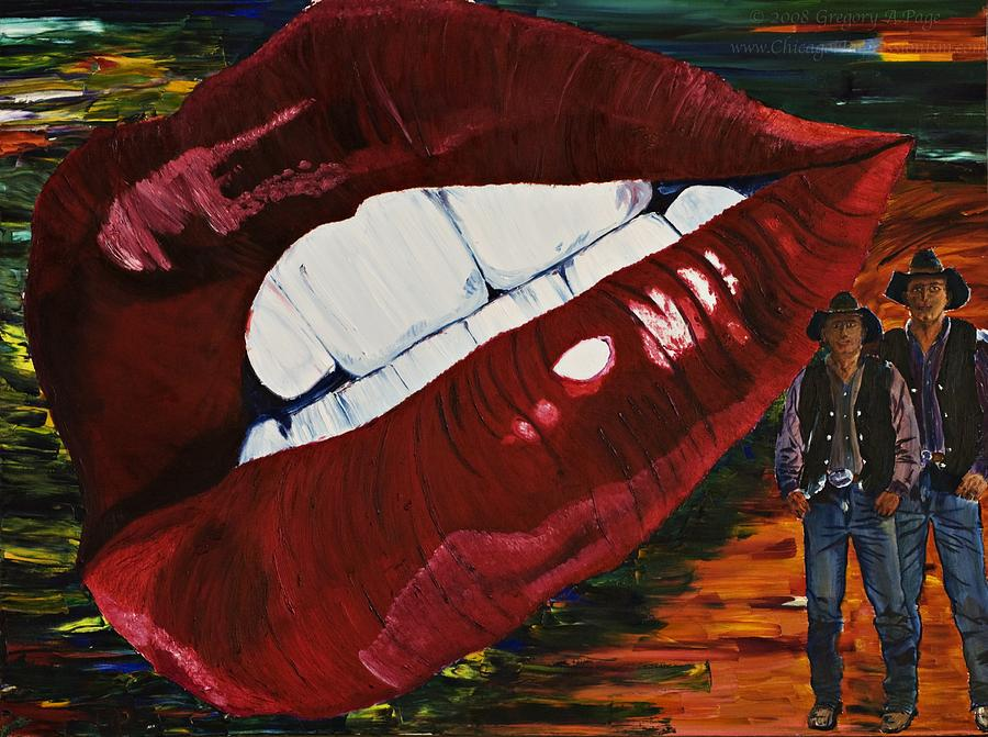 Cowboy Painting - Cowboy Lips by Gregory Allen Page