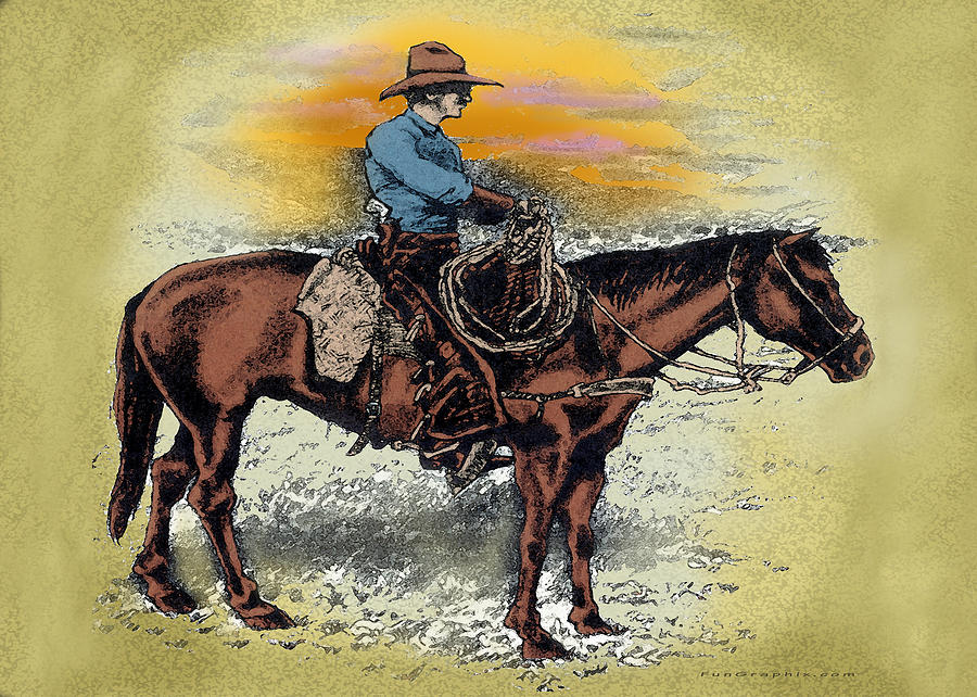 Cowboy Painting - Cowboy N Sunset by Kevin Middleton
