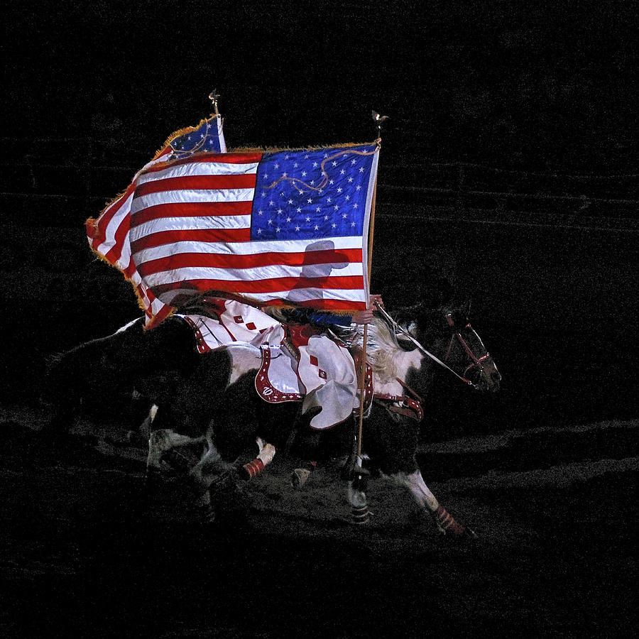 U.s. Flag Photograph - Cowboy Patriots by Ron White