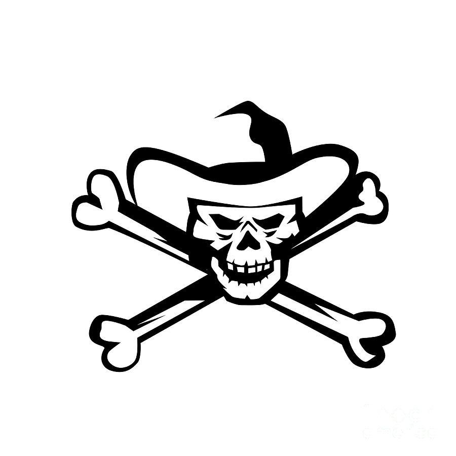 443a4b09504 Cowboy Pirate Skull Cross Bones Retro Digital Art by Aloysius ...