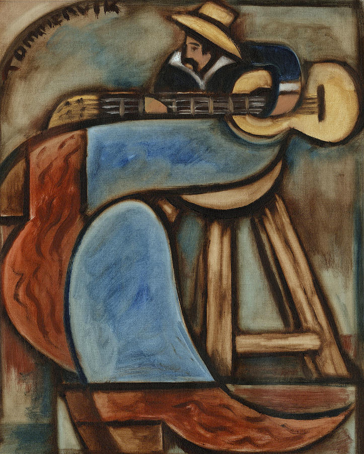 Albuquerque New Mexico Painting - Cowboy Playing Guitar In  Albuquerque New Mexico Art Print by Tommervik