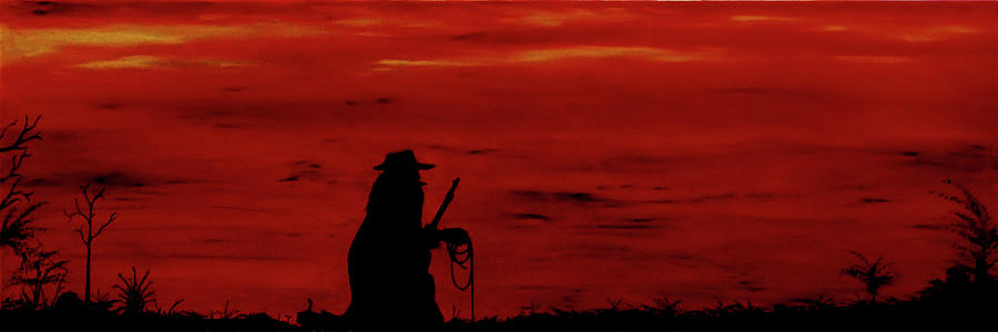 Silhouette Painting - Cowboy by Robert Marquiss