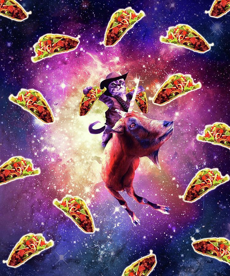 Cowboy Space Cat On Goat Unicorn - Taco