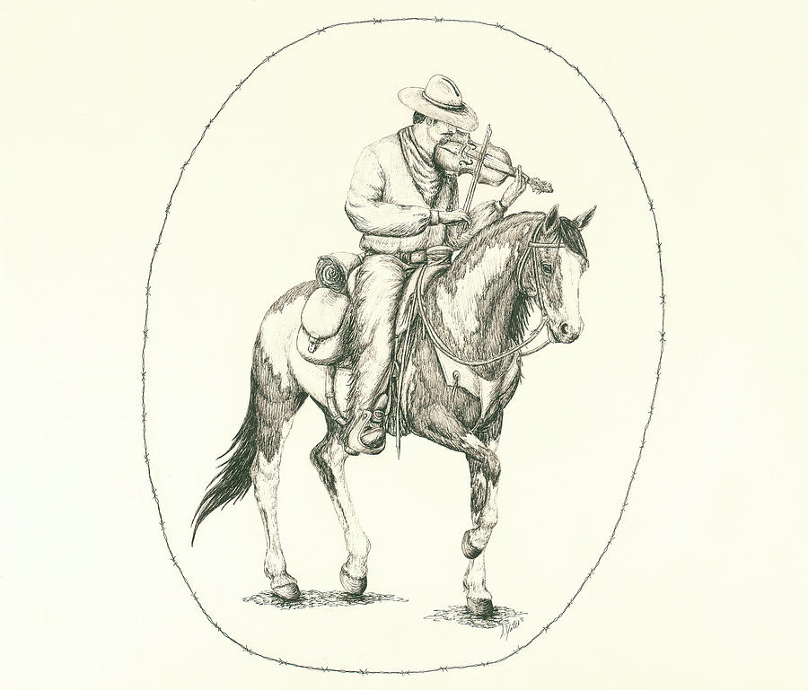 cowboy with a fiddle drawing by stephanie yates