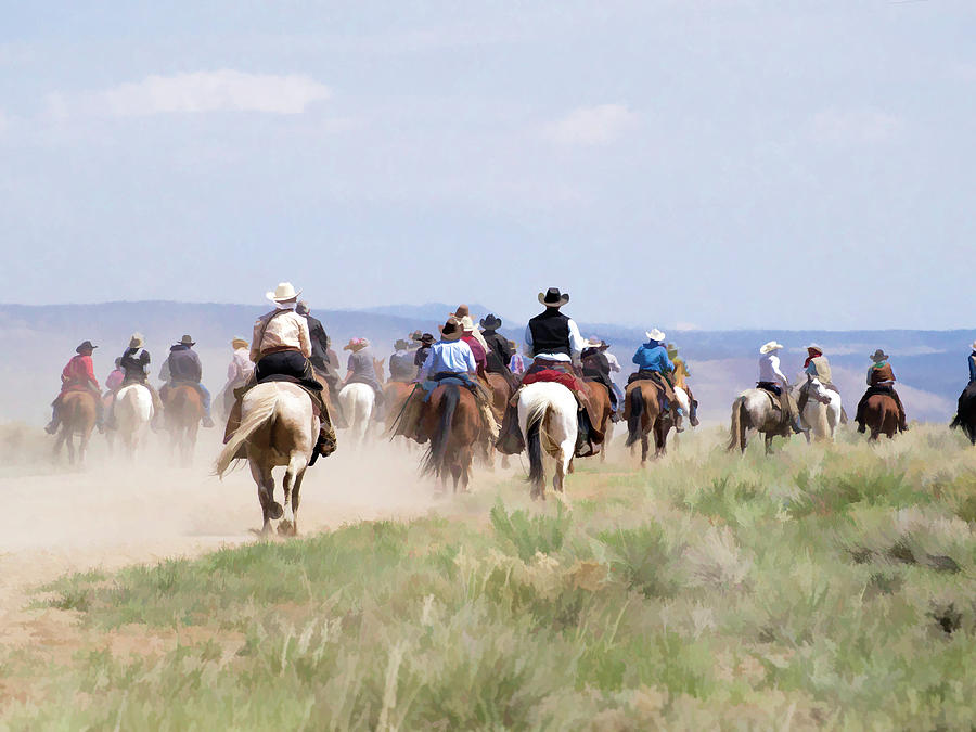Cowboys and Cowgirls riding horses at the Sombrero Horse Drive by Nadja Rider